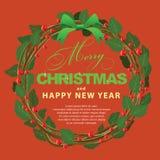 Ornamento verde rojo del ramo de la guirnalda para la Navidad event04 Fotos de archivo