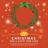 Ornamento verde rojo del ramo de la guirnalda para la Navidad event01 Imagenes de archivo