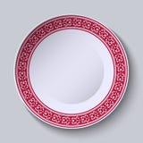 Ornamento vermelho com as ondas na borda do prato cerâmico Pintura chinesa estilizado da porcelana ilustração do vetor
