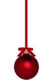 Ornamento vermelho do Natal com curva Fotos de Stock