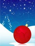 Ornamento vermelho do Natal de Swirly Fotos de Stock