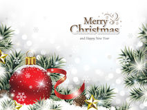 Ornamento vermelho do Natal na neve com ramos de árvore ilustração stock