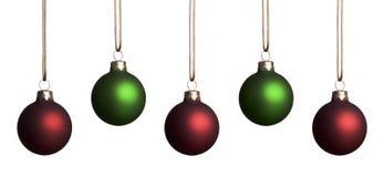Ornamento vermelhos e verdes foto de stock royalty free