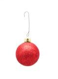 Ornamento w/Hook do Natal - w/Glitter vermelho Fotografia de Stock Royalty Free