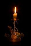 Ornamento y vela de la Navidad fotografía de archivo