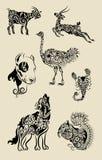 Ornamentos animales fijados Fotos de archivo