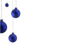 Ornamentos azules de la Navidad Foto de archivo libre de regalías