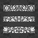 Ornamentos caligráficos para el diseño en un fondo de la pizarra - sistema del vector Fotos de archivo