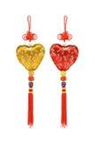 Ornamentos chinos de la dimensión de una variable del corazón Foto de archivo libre de regalías