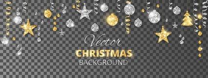 Ornamentos chispeantes del brillo de la Navidad Frontera de la fiesta del oro y de la plata Guirnalda con las bolas y las cintas  ilustración del vector
