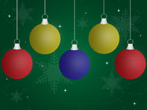 Ornamentos coloreados de la Navidad Foto de archivo libre de regalías