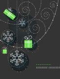 Ornamentos, copos de nieve y regalos de la Navidad Imagenes de archivo