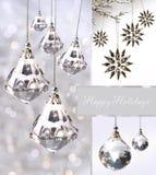Ornamentos cristalinos de la Navidad contra la plata fotos de archivo