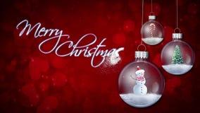 Ornamentos de balanceo en lazo rojo del texto de la Feliz Navidad ilustración del vector