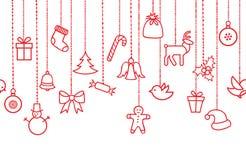 Ornamentos de la decoración de la ejecución del día de fiesta de la Navidad: Guirnalda de la Navidad Imagen de archivo