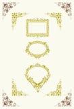 Ornamentos de la escritura de la etiqueta y de la esquina Foto de archivo libre de regalías