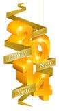 Ornamentos de la Feliz Año Nuevo 2014 Fotografía de archivo libre de regalías