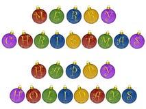 Ornamentos de la Feliz Navidad buenas fiestas Fotografía de archivo