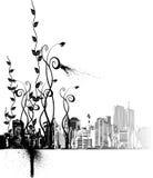 Ornamentos de la flor y la ciudad Ilustración del Vector