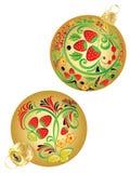 Ornamentos de la fresa en bolas de la Navidad Foto de archivo libre de regalías