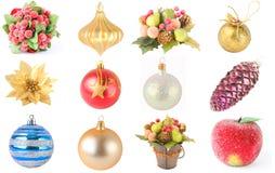 Ornamentos de la Navidad, collage Imágenes de archivo libres de regalías