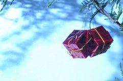 Ornamentos de la Navidad con el espacio blanco Imagen de archivo
