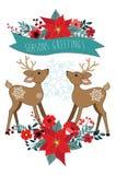Ornamentos de la Navidad con la poinsetia y los ciervos Imágenes de archivo libres de regalías