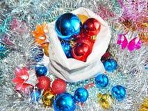 Ornamentos de la Navidad, decoraciones, aún vida, fondo, composición Fotografía de archivo libre de regalías