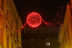 Ornamentos de la Navidad en la noche Imágenes de archivo libres de regalías