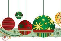 Ornamentos de la Navidad en rojo y verde Fotos de archivo