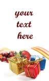 Ornamentos de la Navidad o del Año Nuevo en blanco Imagen de archivo libre de regalías