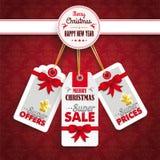Ornamentos de las etiquetas engomadas del precio de la Navidad del emblema Foto de archivo