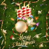 Ornamentos de las velas y de la Navidad EPS 10 Fotos de archivo