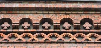 Ornamentos de los ladrillos rojos Fotografía de archivo