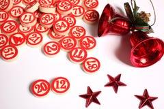 Ornamentos de los números y de la Navidad del bingo Fotos de archivo libres de regalías