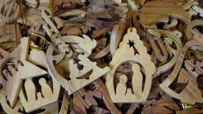 Ornamentos de madera del árbol de navidad de la escena de la natividad Imagen de archivo