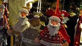 Ornamentos de madera de la Navidad Imágenes de archivo libres de regalías