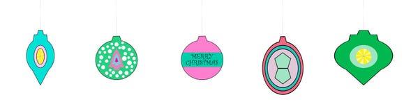 Ornamentos de mirada retros caprichosos de la Navidad Imagen de archivo libre de regalías