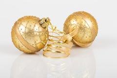 Ornamentos de Noel en blanco Fotografía de archivo