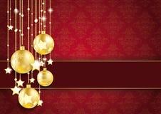 Ornamentos de oro del rojo de las estrellas de las chucherías Fotos de archivo