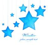 Ornamentos del árbol de navidad de las estrellas azules Fotos de archivo