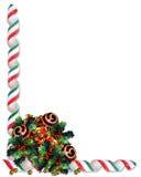 Ornamentos del acebo de la frontera de la Navidad Foto de archivo libre de regalías