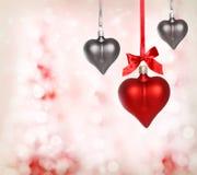 Ornamentos del corazón de la tarjeta del día de San Valentín Fotografía de archivo libre de regalías
