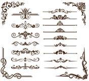 Ornamentos del vintage del vector, esquinas, fronteras Foto de archivo libre de regalías