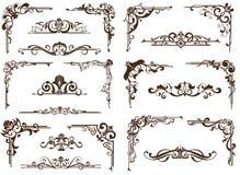 Ornamentos del vintage del vector, esquinas, fronteras Foto de archivo