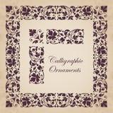 Ornamentos, esquinas, fronteras y marcos caligráficos decorativos para la decoración y el diseño de la página Fotos de archivo