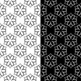 Ornamentos florales blancos y negros Conjunto de fondos inconsútiles Fotografía de archivo