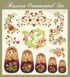 Ornamentos florales en el estilo ruso Imágenes de archivo libres de regalías