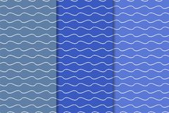 Ornamentos geométricos azules Conjunto de modelos inconsútiles Imagen de archivo