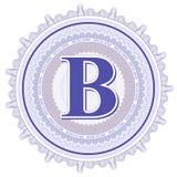 Ornamentos geométricos del vector Rosetones del guilloquis con la letra B Fotos de archivo